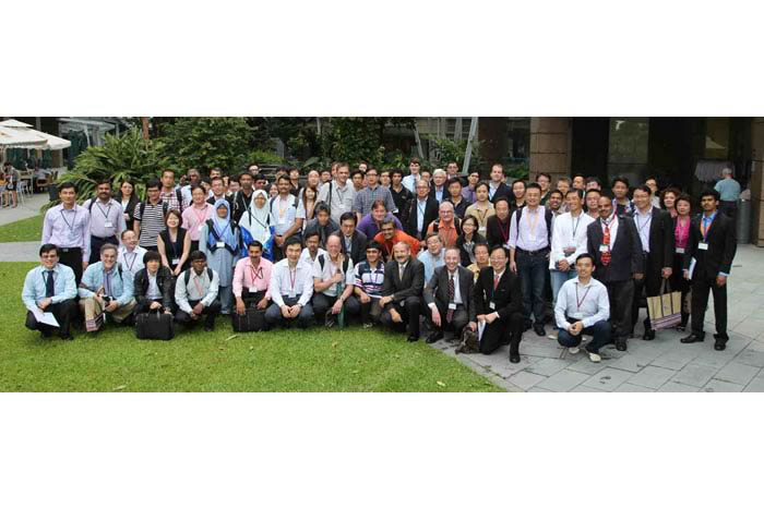 Group photo of participants from the ATIP/A*CRC HPC Workshop in front of the Biopolis Complex in Singapore