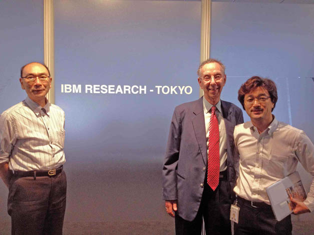 ATIP Japan Senior Technology Analyst Eietsu TAMURA (left) at IBM Tokyo Research Laboratory (TRL) with IBM researcher Takao MORIYAMA (right) and ATIP President David Kahaner (middle)