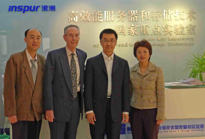 Mr. Jun LIU (2nd from the right) with ATIP's David Kahaner and ATIP China's Debbie CHEN and Watson YAN at the State Key Laboratory of High-end Server and Storage Technology of Inspur in Jinan, China