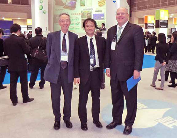nanotech Japan 2013: ATIP President David Kahaner at left and ATIP consultant Rob Haak (Insight InterAsia) at right with a representative from Japan's New Energy and Industrial Technology Development Organization (NEDO) at center