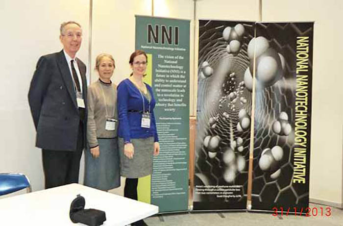 ATIP's David Kahaner and Yoshiko Akiyama with NNCO's Stacy Standridge at the nanotech Japan 2013 exhbition