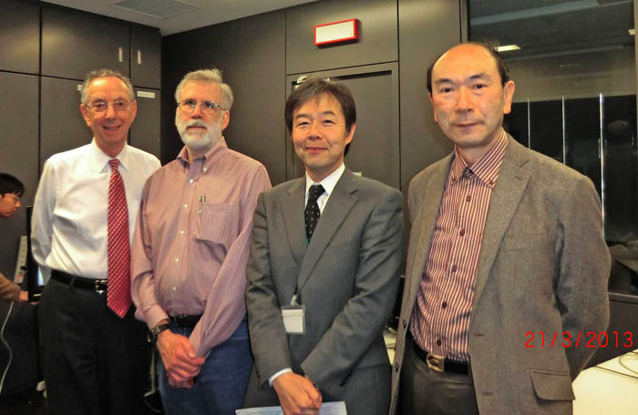 From Left: David (ATIP) and Bill Harrod (DOE) visit Prof. KASAHARA at the Green Computing Research Center in Tokyo with ATIP Japan's Senior HPC Advisor, Eietsu Tamura (far right)
