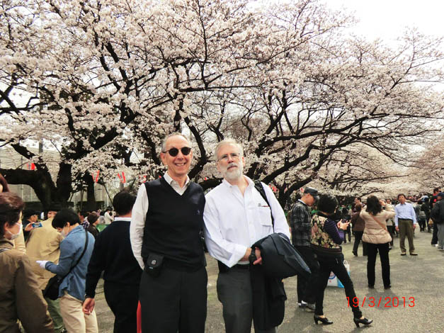 ATIP President David Kahaner and DOE's Bill Harrod enjoy the cherry blossoms at Ueno Park in Tokyo during a visit to Japan in March 2013 (Right)