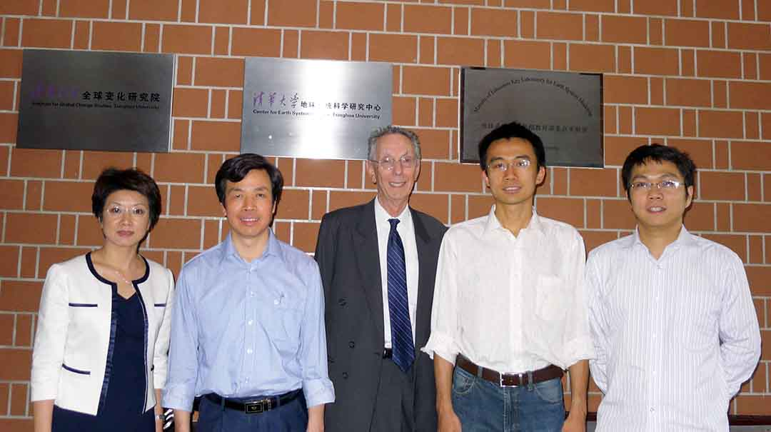 ATIP visits the Center for Earth System Science at the Institute for Global Change Studies, Tsinghua University in Beijing, China. From left to right: Debbie CHEN, ATIP China Country Manager; Prof. Bin WANG, Tsinghua University; David KAHANER, ATIP President; Dr. Shiming XU, Tsinghua University; and Dr. Li LIU, Tsinghua University.