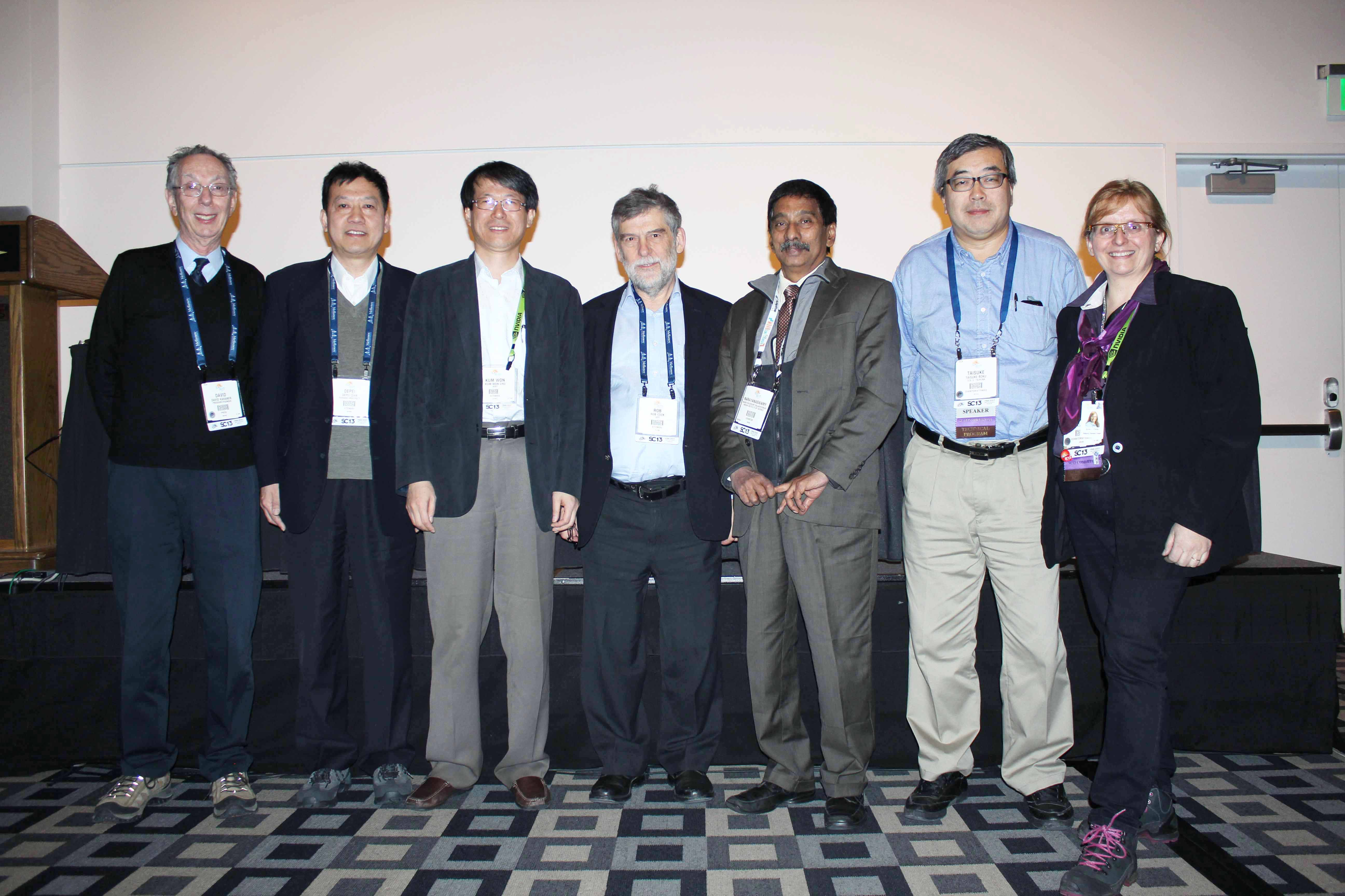 ATIP Panel at SC13. From left to right: ATIP's Dr. David KAHANER (Moderator), Prof. Depei QIAN (Beihang University, China), Dr. Kum Won CHO ( National Institute of Supercomputing & Networking, South Korea), Rob COOK (Queensland Cyber Infrastructure Foundation, Australia), Prof. N. BALAKRISHNAN (Indian Institute of Science, India), Prof. Taisuke BOKU (University of Tsukuba, Japan), and Panel Organizer Dr. Anne C. ELSTER, Director of the Heterogeneous and Parallel Computing Lab (HPC-Lab) at the Norwegian University of Science and Technology (NTNU)