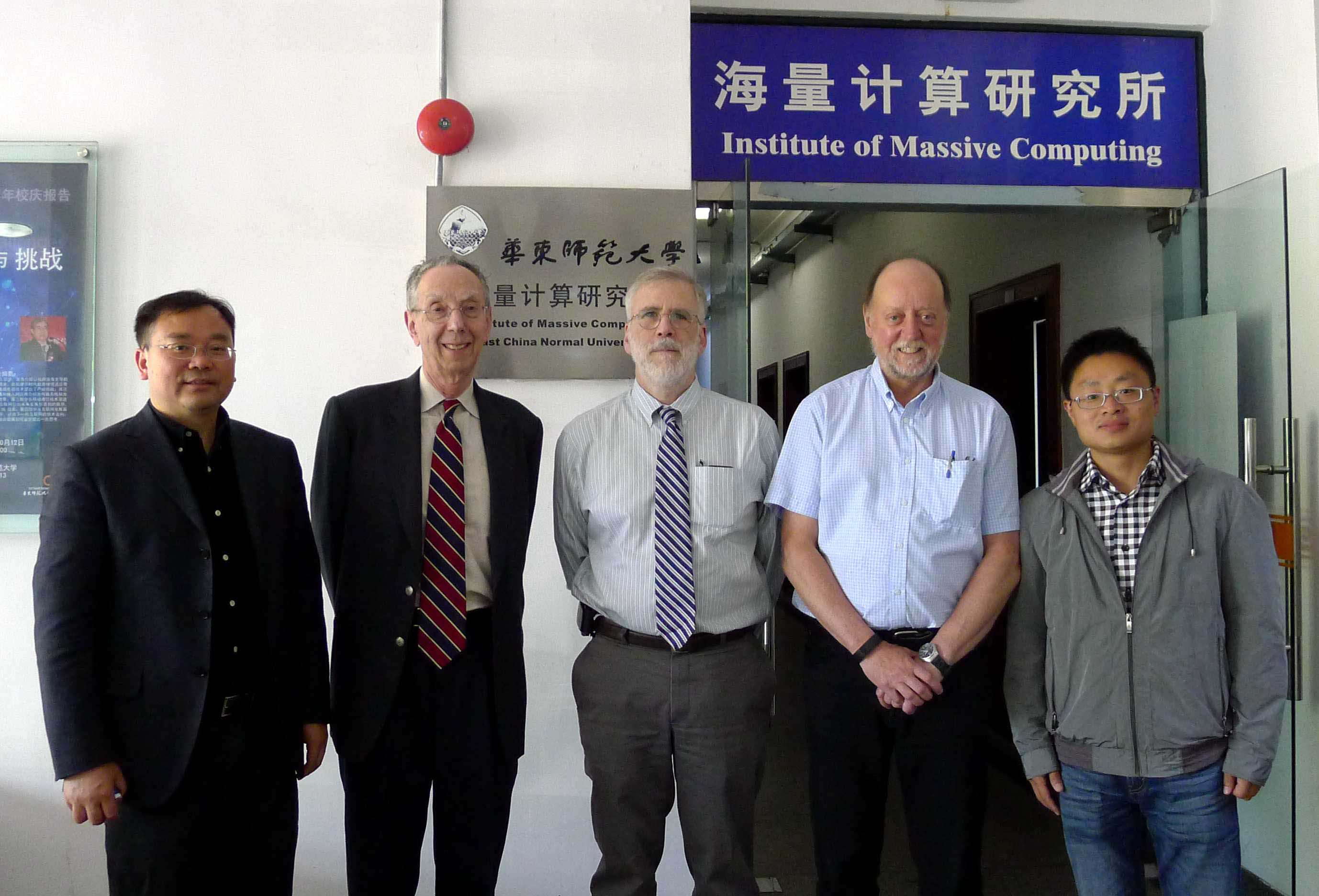 ATIP visits East China Normal University (ECNU) in May 2014, from left to right, Prof. Aoying ZHOU (Director, Center for cloud computing and big data, ECNU), Dr. David Kahaner (President of ATIP), Prof. Jack Dongarra (Innovative Computing Laboratory, Department of Electrical Engineering and Computer Science, University of Tennessee), Prof. Minqi ZHOU (Center for cloud computing and big data, ECNU)